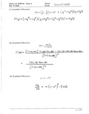 Math 121 Quiz 4 Version 2 Solutions