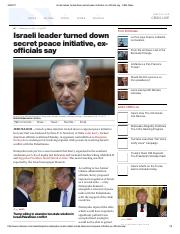 Associated Press- Israeli Leader turned down secret peace inititative ex official say-Feb 2017