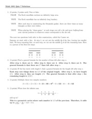 Quiz 7 Solution on Excursions in Mathematics