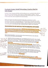 social networking impact kid's brain - outline research