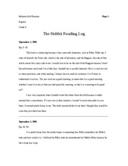 English 9 - Hobbit Reading Log