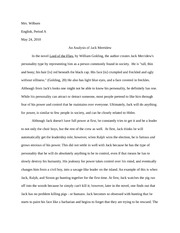 British Literature Lord of the Flies Essay