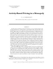 Activity-Based Pricing in a Monopoly