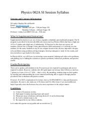 Physics 002A SI Session Syllabus