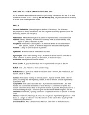English 243 Final Exam Study Guide 2011 (REVISED)