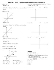 Recommended Problem Set 7 Solution