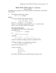 MATH 3G03 Spring 2013 Quiz 5 Solutions