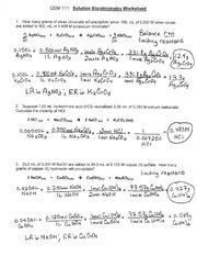 Solution Stoichiometry Worksheet - Solution Stoichiometry Worksheet ...