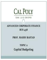 Topic2-Capital Budgeting and Real Options