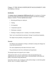 Chapter 12 THE HUMAN RESOURCES MANAGEMENT AND PAYROLL CYCLE