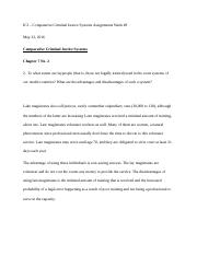 Comparative Criminal Justice Systems Week 8 Assignements.docx