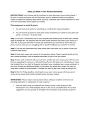 Week 7 ENGL 112 Peer Review Worksheet