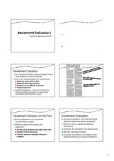 Chapter 3.1 - Project appraisal methods