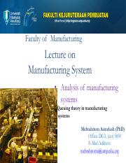 lecture week  9-10- Queueing modelling in manufacturing