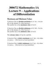 Lecture 9 - Applications of Differentiation