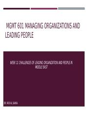 Week 11 ]Discussion Challenges facing Managers in Leading organizations and people in organization i