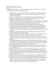 LING 210 - Questions for Exam 3