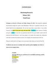 Final Exam Marketing Research