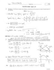 MATH 3650 Fall 2014 Quiz 1 Solutions