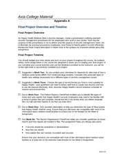 HCR 210 Week 1-Appendix A - Final Project Overview and Timeline