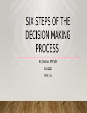 Six Steps of the decision making process