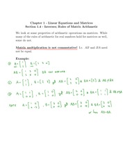 Section 1.4 Inverses, rules of matrix arithmetic