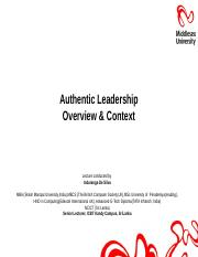 Lecture 11 Authentic Leadership - Overview & Context