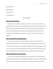 Anxiety Disorder-Essay Final Draft
