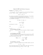 Central Limit Theorem HW Solutions
