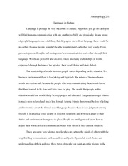 Language In Culture Essay