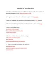 Homeostasis and Energy Quiz Answers - a a molecule of glucose is ...