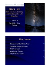 Lecture 19 — Our Milky Way Galaxies