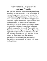 Microeconomic Analysis and the Matching Principle