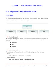 LESSON 13 - DESCRIPTIVE STATISTICS