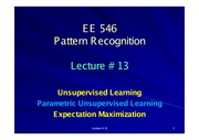 EE546_L13 - Unsupervised Learning - Parametric UL - Expectation Maximization