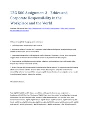 LEG 500 Week 7 Assignment 2 - Ethics and Corporate Responsibility in the Workplace and the World - S