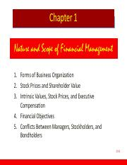 Chapter 01 Overview of financial management