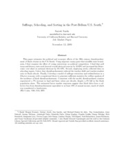 Suresh - Suffrage, Schooling and Sorting in the Post-Bellum U.S. South
