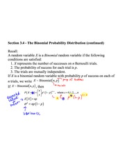 Section 3.4 The Binomial Probability Distribution Notes