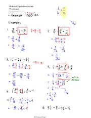 Order of Operations (with Fractions)