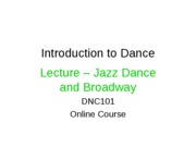 Lecture - Jazz Dance and Broadway