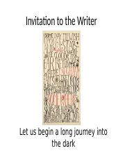 Lesson Invitation to the Writer