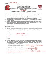 CE 305 Midterm 3 version A SOLUTIONS F2016