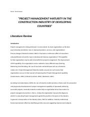 PROJECT MANAGEMENT MATURITY IN THE CONSTRUCTION INDUSTRY OF DEVELOPING COUNTRIES.docx