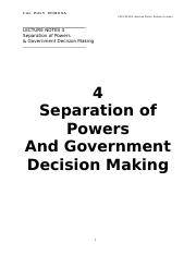 PLS201 13 Lecture Notes 4 Separation of Powers and Government Decision Making(1).doc
