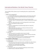 International Relations- One World, Many Theories.docx