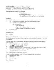 BUSI0027 Management Accounting I Chapter 10