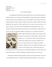 Short Paper on Friendship - Maus - Rough Draft