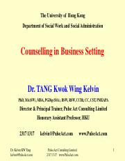SOWK Counselling in Business Setting-Application of counselling in various business settings