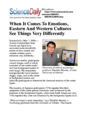 When It Comes To Emotions, Eastern And Western Cultures See Things Very Differently
